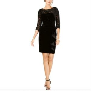 NWT Alex Evenings Velvet Embroidered Ruffle Dress